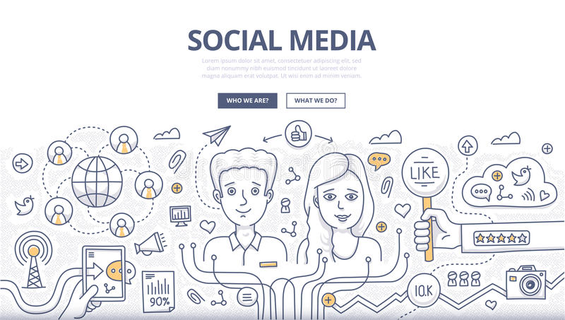 Concepto social del garabato de los medios ilustración del vector