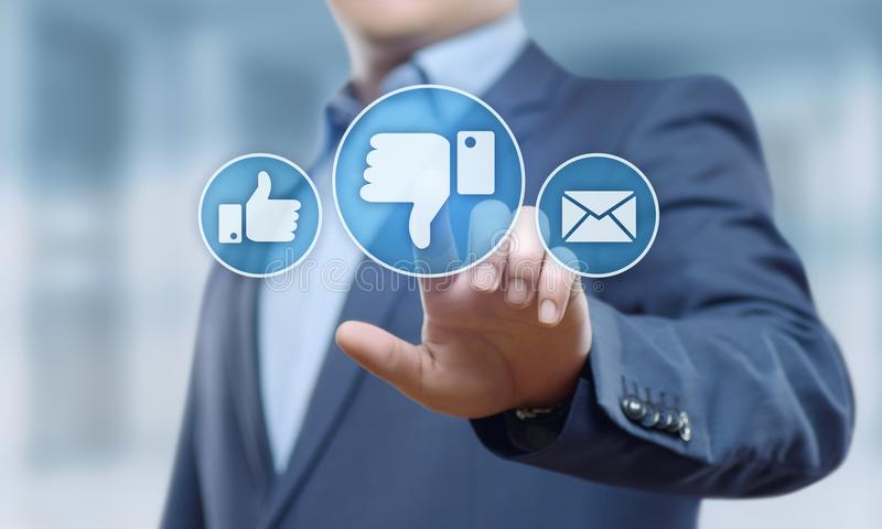 Concepto social del Internet del negocio de la reacción del botón de la aversión imagen de archivo