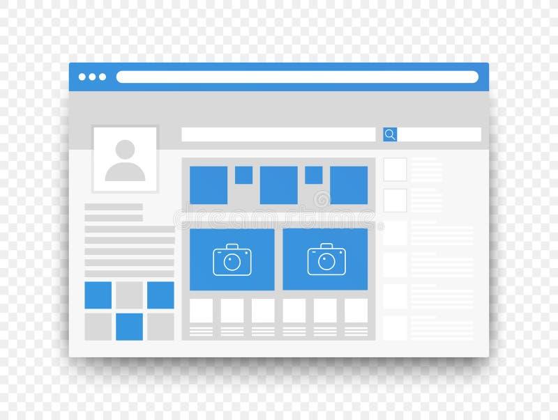 Concepto social del ui del interfaz de la página de la red aislado en fondo alfa transperant ilustración del vector