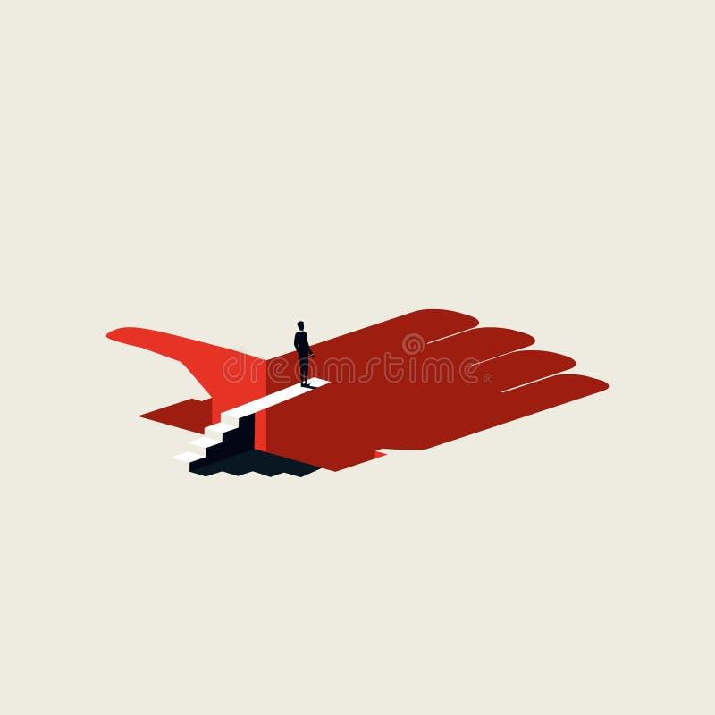 Concepto social del vector del apego de los medios con la situación del hombre en bord de salto sobre el agujero Estilo art?stico stock de ilustración
