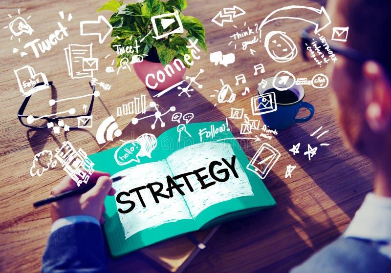 Concepto social en línea del márketing del establecimiento de una red de la estrategia medios fotografía de archivo libre de regalías