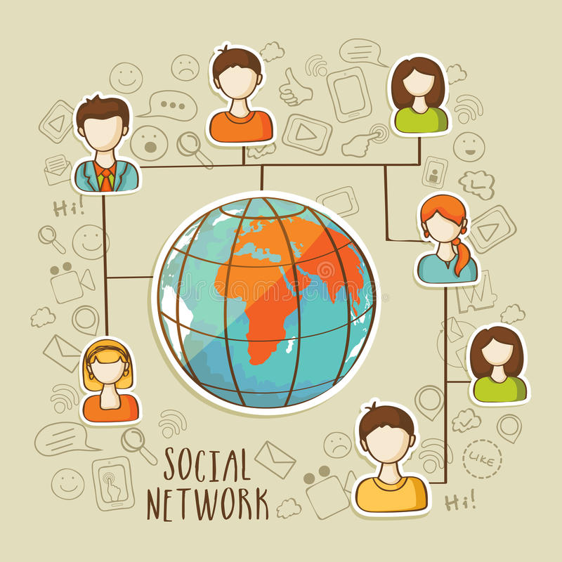 Concepto social global de la red con los medios iconos sociales ilustración del vector