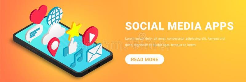 Concepto social isométrico de los apps de los medios horizontal stock de ilustración