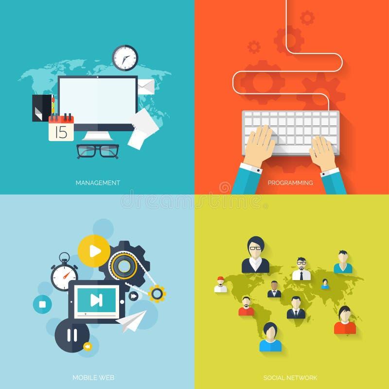Concepto social plano de los medios y de la red Fondo del negocio, comunicación global Avatares del perfil del sitio web conexión stock de ilustración