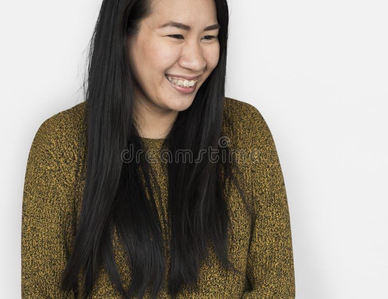 Concepto sonriente alegre de la mujer asiática fotografía de archivo