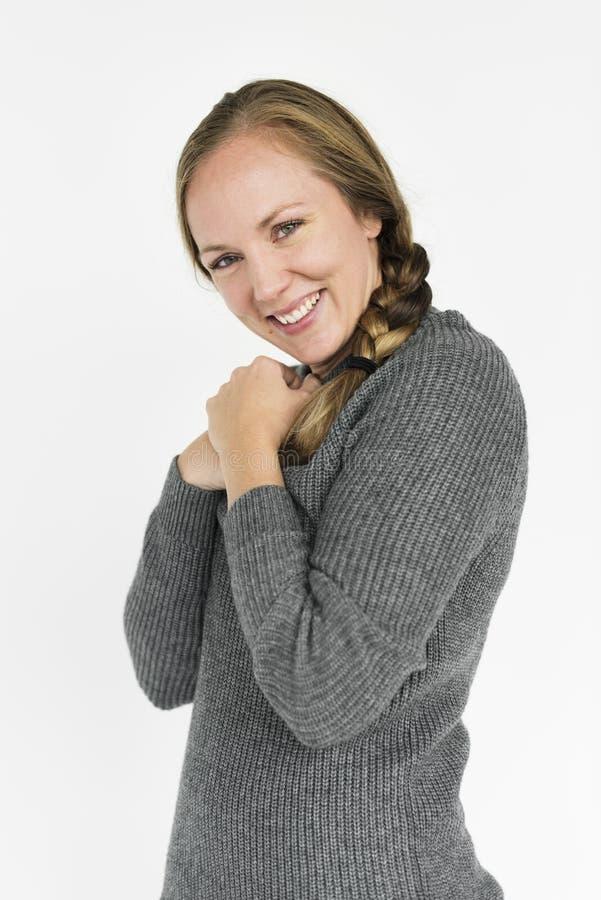 Concepto sonriente del retrato de la felicidad de la mujer imágenes de archivo libres de regalías