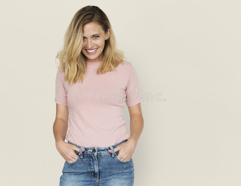 Concepto sonriente del retrato de la felicidad de la mujer imagen de archivo libre de regalías