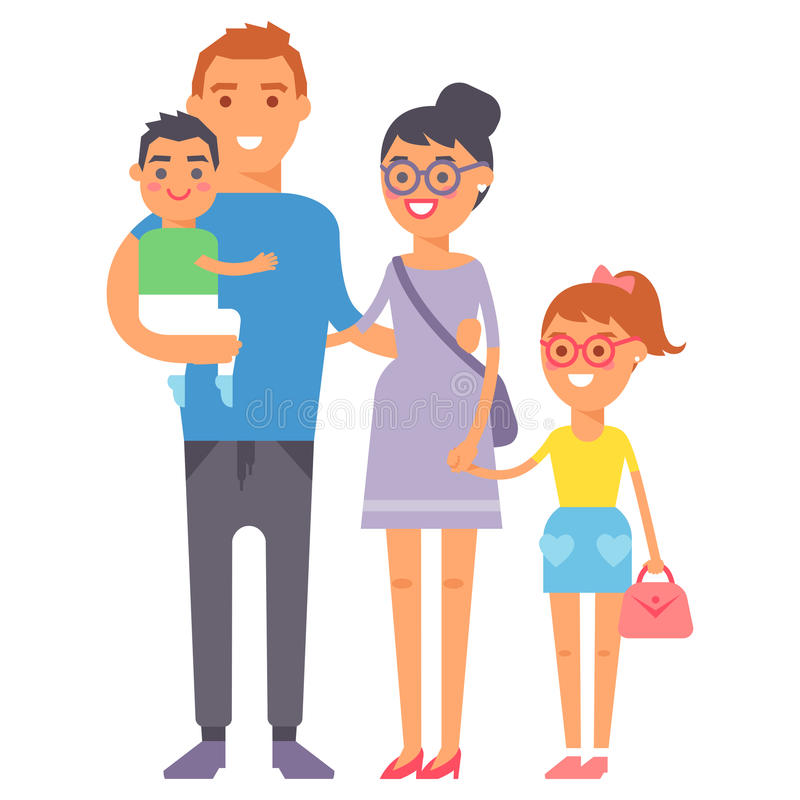 Concepto sonriente y padre casual, alegres, forma de vida del parenting de la unidad del grupo de la felicidad adulta de la gente libre illustration