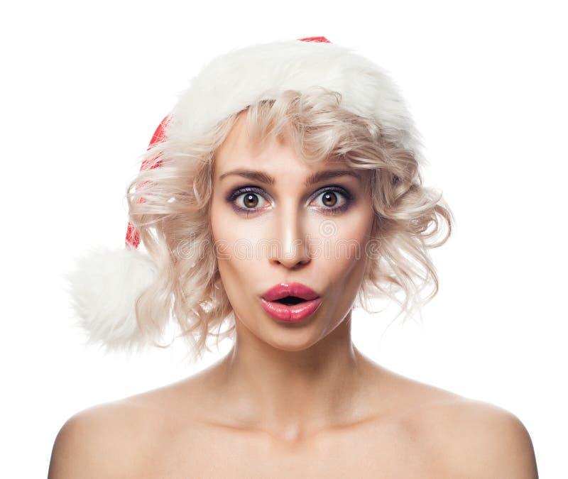 Concepto sorprendido divertido de la Navidad de la mujer imágenes de archivo libres de regalías