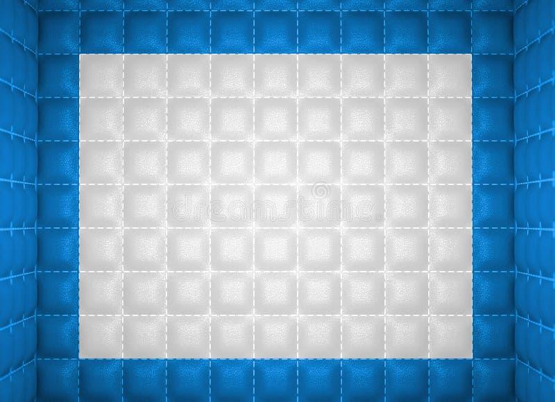 Concepto suave del sitio Azul y modelo de cuero cosido blanco ilustración del vector