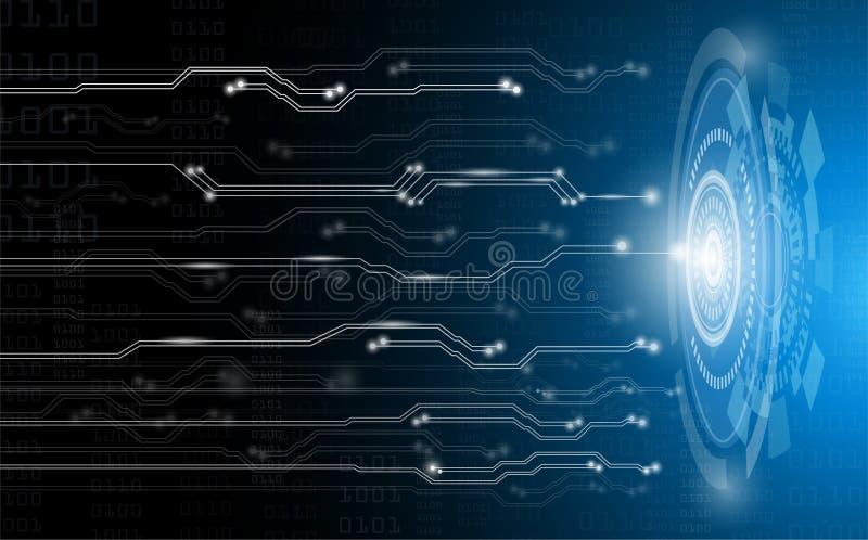 Concepto, tecnología y ciencia abstractos del fondo con el circuito eléctrico en la luz azul, red de sistema digital en global fu stock de ilustración