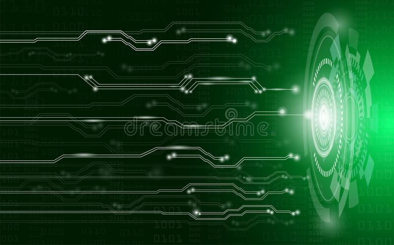 Concepto, tecnología y ciencia abstractos del fondo con el circuito eléctrico en luz verde stock de ilustración