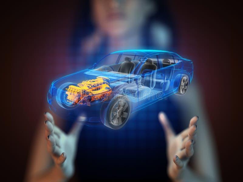 Concepto transparente del coche en holograma ilustración del vector