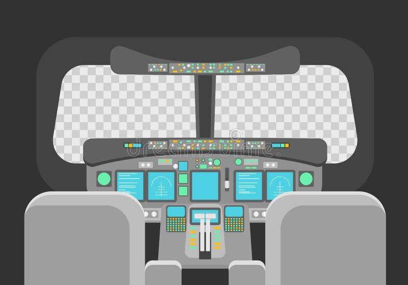 Concepto vacío de la plantilla de la carlinga de pilotos de la historieta Vector stock de ilustración