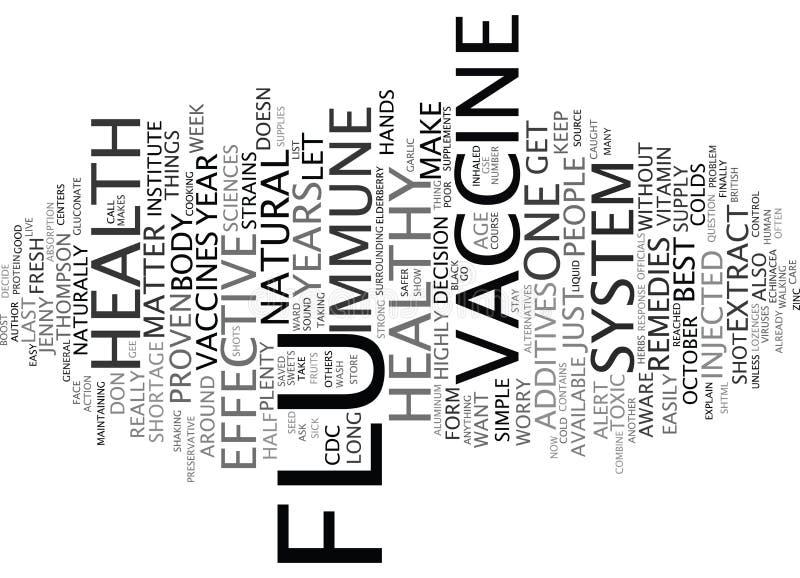 Concepto vaccíneo de la nube de la palabra del fondo del texto de la histeria de la gripe stock de ilustración