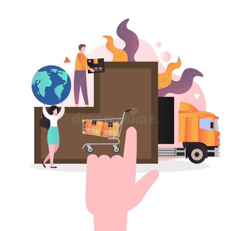 Concepto vectorial de comercio electrónico para banner web, página web stock de ilustración