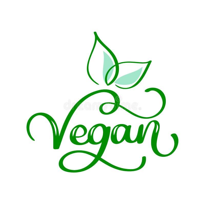 Concepto vegetariano del eco Ilustración del vector La mano dibujada poniendo letras a la inscripción va vegano libre illustration