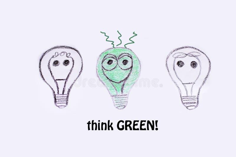 Concepto verde de la energía del eco, tres bombillas ilustración del vector
