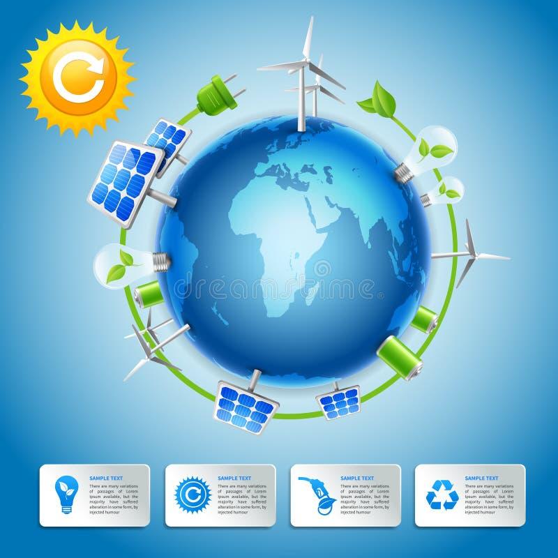 Concepto verde de la energía y del poder stock de ilustración