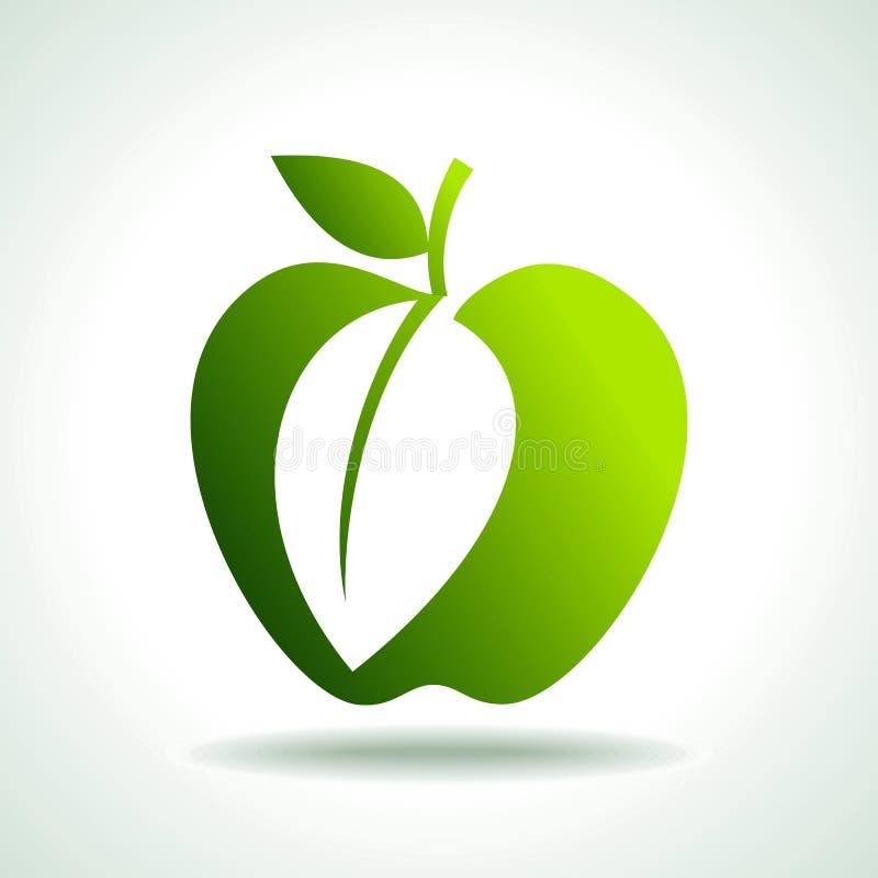 Concepto verde del alimento biológico de las manzanas stock de ilustración