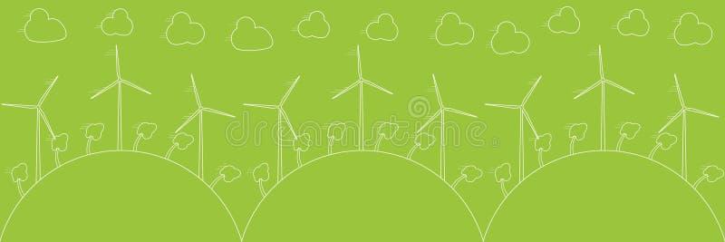 Concepto verde del eco - energía eólica Generadores de viento, ejemplo del vector Tecnología de energía alternativa del poder ilustración del vector
