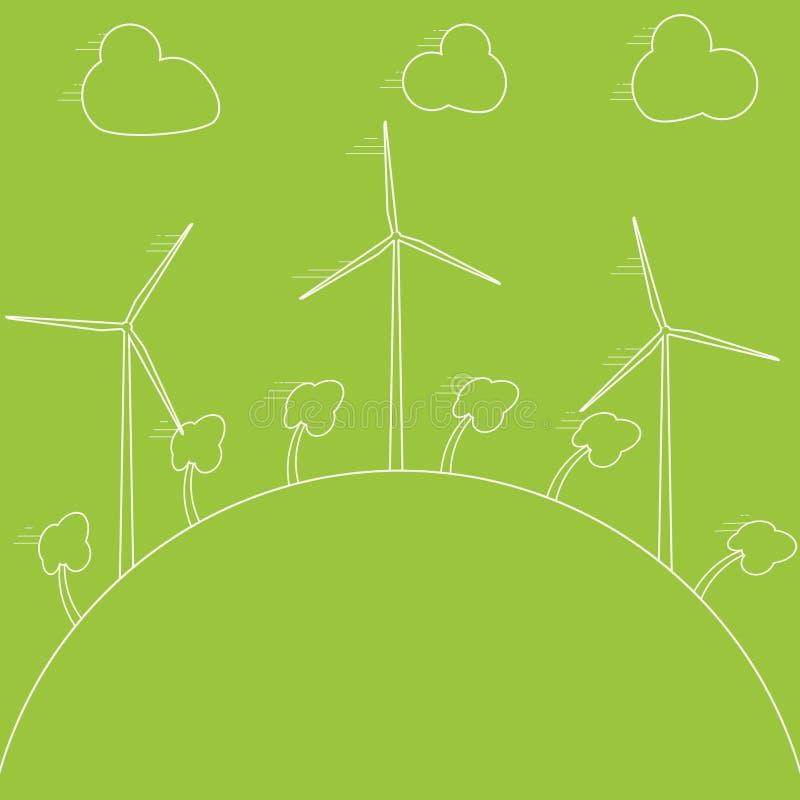 Concepto verde del eco - energía eólica Generadores de viento, ejemplo Tecnología de energía alternativa del poder libre illustration
