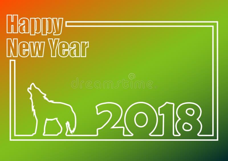Concepto verde del esquema del fondo de la Feliz Año Nuevo 2018 stock de ilustración