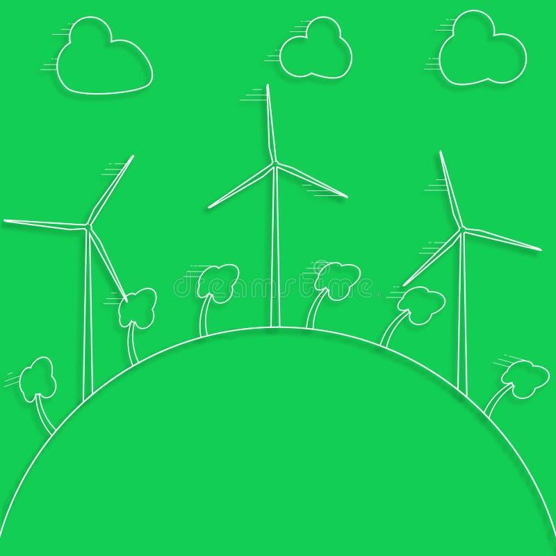 Concepto verde - energía eólica Generadores de vientos - estilo del vector 3d stock de ilustración