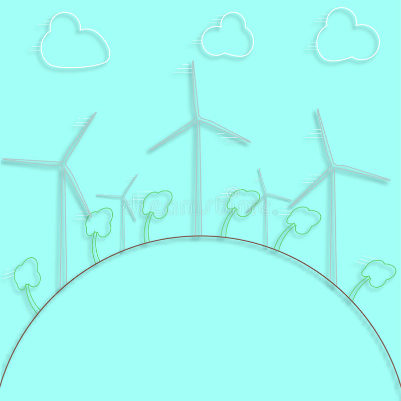 Concepto verde - energía eólica Generadores de vientos - estilo del vector 3d Elemento del diseño o infographic ilustración del vector