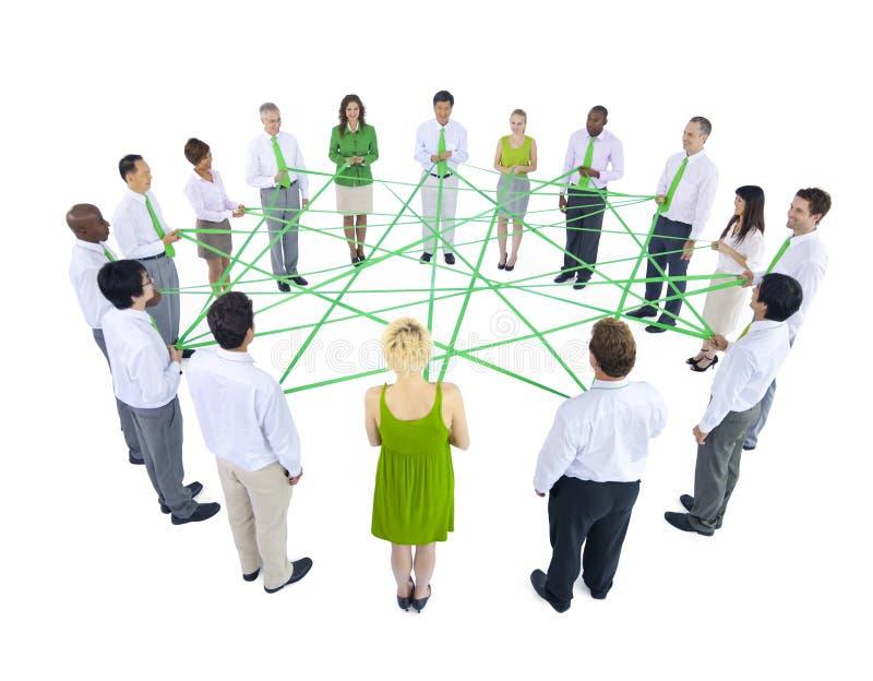 Concepto verde internacional de la relación de la reunión de negocios foto de archivo