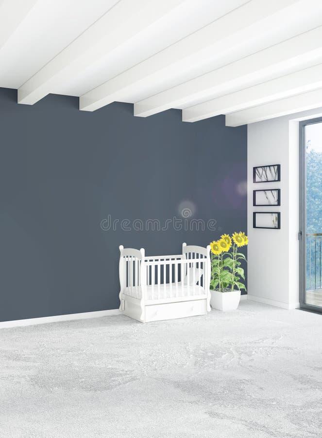 Concepto vertical de cuarto de niños del desván en diseño interior del estilo moderno con la pared y el copyspace eclécticos repr ilustración del vector