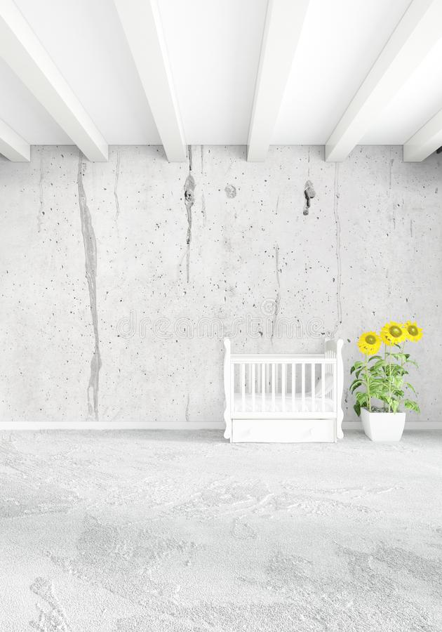 Concepto vertical de cuarto de niños del desván en diseño interior del estilo moderno con la pared y el copyspace eclécticos repr libre illustration