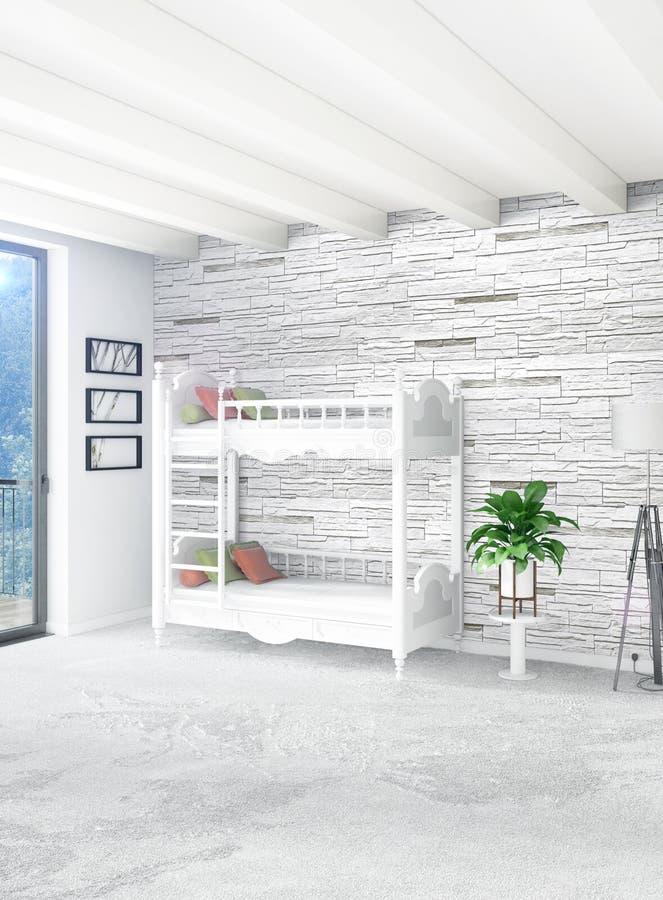 Concepto vertical de cuarto de niños del desván en diseño interior del estilo moderno con la pared y el copyspace eclécticos repr stock de ilustración