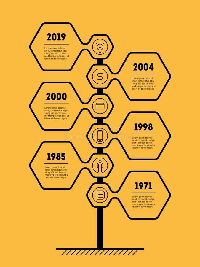 Concepto vertical de la presentación del negocio con 6 opciones Infograph stock de ilustración