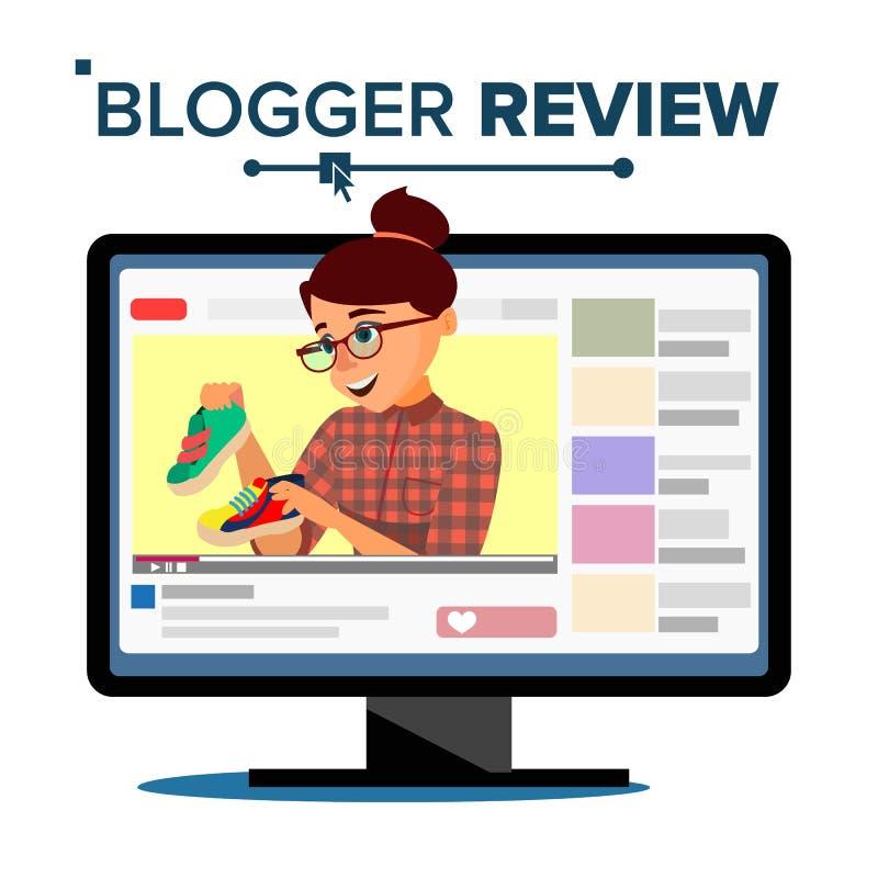 Concepto Vetor del comentario del Blogger Muchacha video joven popular del Blogger de la flámula, mujer Blog de la moda Live Broa ilustración del vector