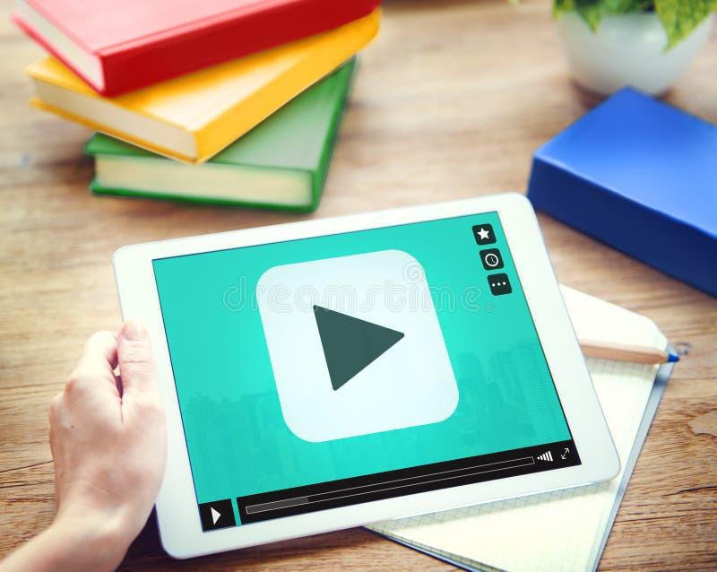 Concepto video audio de la tecnología del botón de reproducción medios fotos de archivo