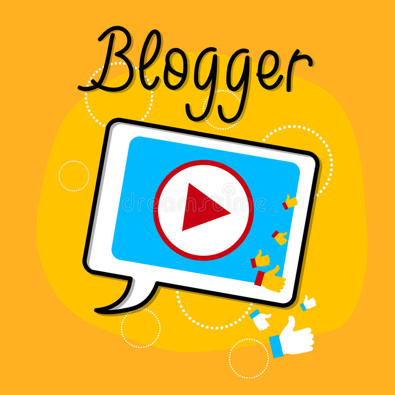 Concepto video de Bloggind del icono del interfaz del jugador de la tableta del blog ilustración del vector
