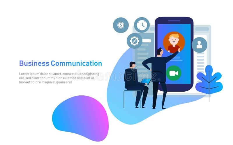 Concepto video de la charla El hombre comunica con la charla video en el teléfono elegante Charla en línea del web Diseño plano V ilustración del vector