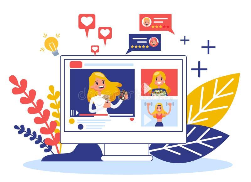 Concepto video del blogger Distribuci?n del contenido en Internet libre illustration