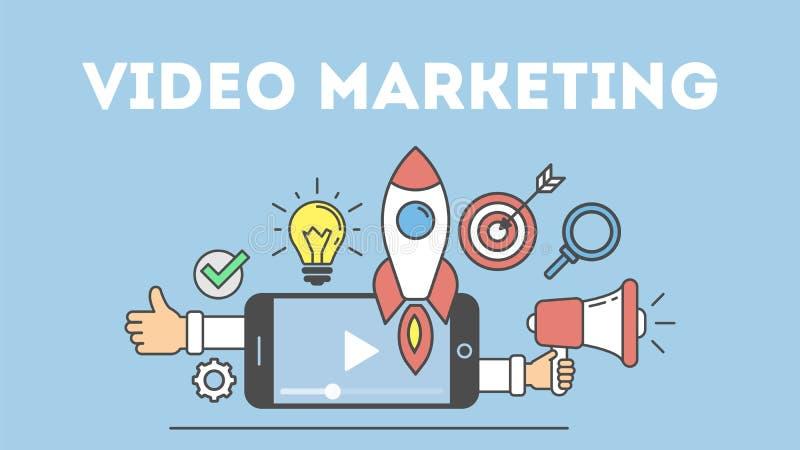 Concepto video del márketing ilustración del vector