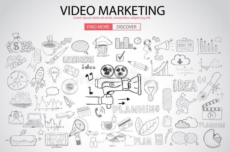 Concepto video del márketing con estilo del diseño del garabato: stock de ilustración