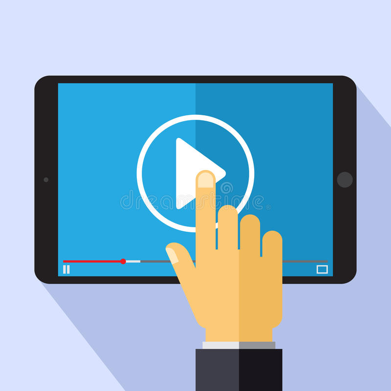 Concepto video del márketing del vector en el estilo plano - vídeo en la pantalla de la PC de la tableta - elemento del diseño de ilustración del vector