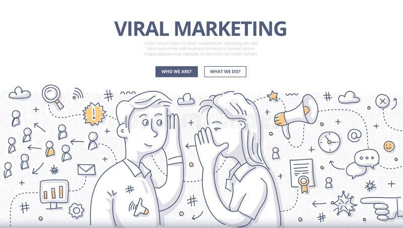 Concepto viral del garabato del márketing ilustración del vector