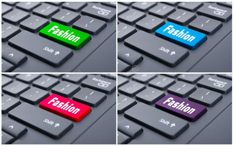 Concepto virtual de la creatividad con el botón de la moda foto de archivo