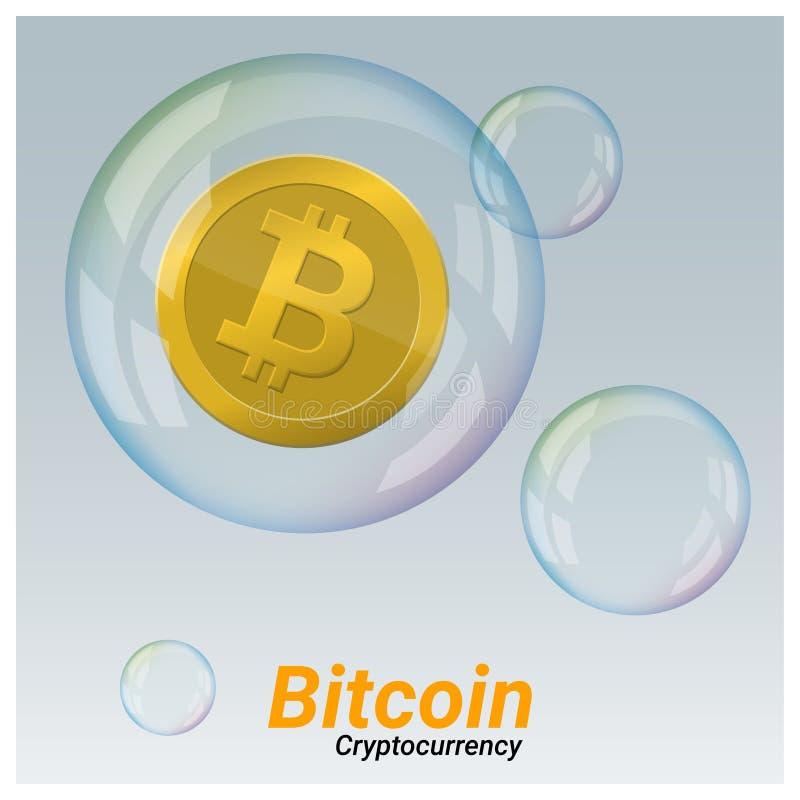 Concepto virtual de la crisis del cryptocurrency con el bitcoin en fondo de la burbuja de jabón ilustración del vector