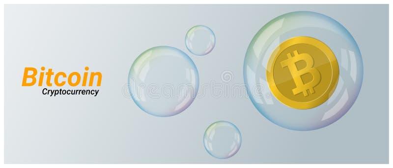 Concepto virtual de la crisis del cryptocurrency con el bitcoin en fondo de la burbuja de jabón stock de ilustración