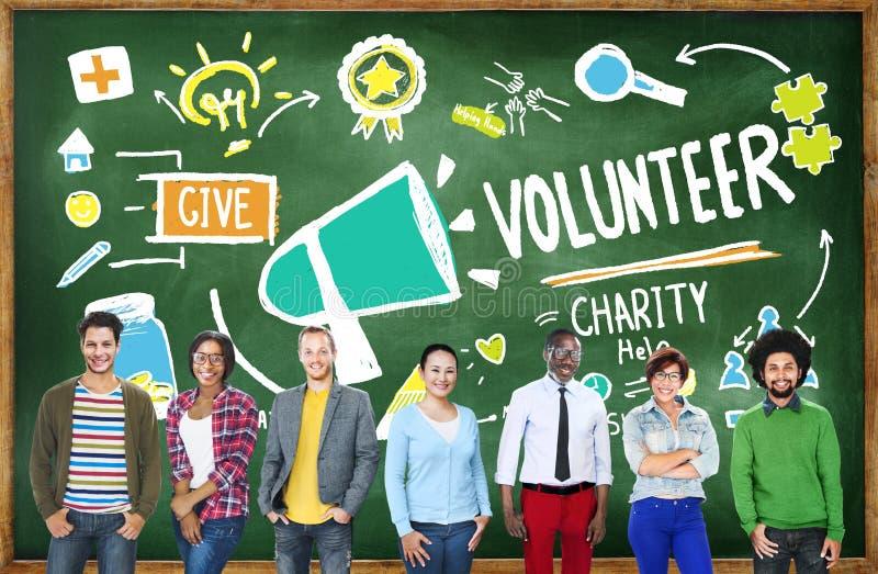 Concepto voluntario de la ayuda de la donación del trabajo de la caridad y del alivio fotografía de archivo
