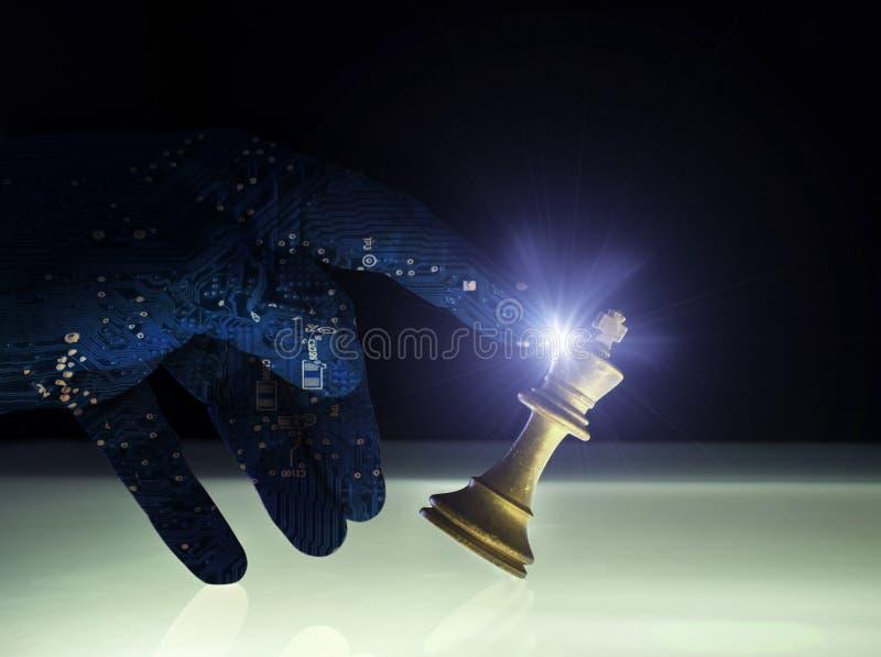 Concepto Wining superior del ajedrez de la inteligencia artificial foto de archivo