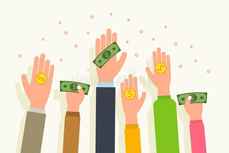 Concepto y caridad del dinero de la donación La gente da el dinero y monedas en mano de la palma Vector plano del estilo stock de ilustración