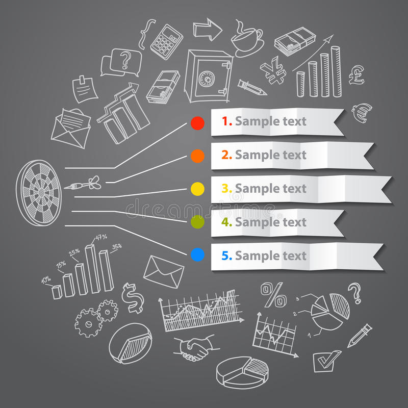 Concepto y mano infographic de comercialización dibujados stock de ilustración